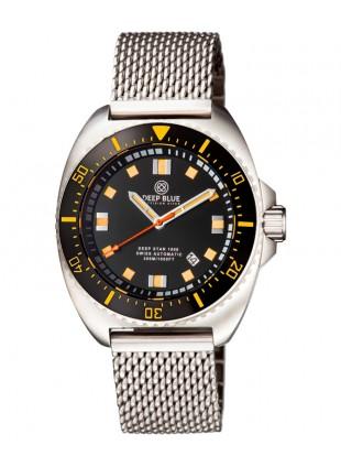 Deep Blue Deep Star 1000 Swiss Auto dive watch Ceram bez Blk Dial Mesh Bracelet