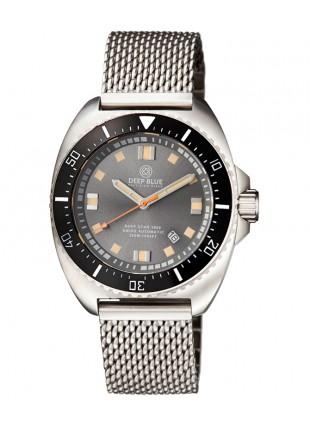 Deep Blue Deep Star 1000 Swiss Auto dive watch Ceram bez Grey Dial Mesh Bracelet