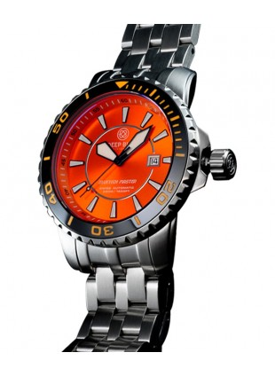 DEEP BLUE BLUETECH MASTER 500 WATCH AUTO BLACK BEZEL ORANGE DIAL SWISS ETA 2824-2