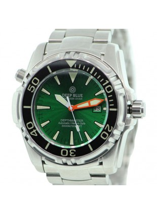 DEEP BLUE DEPTHMASTER 3000 WATCH AUTO 49mm DATE 28800 bph 3000m GREEN