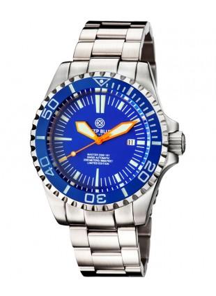 Deep Blue MASTER 2000 Automatic Diver Swiss ETA 2824-2 Org hands Blue bezel/dial