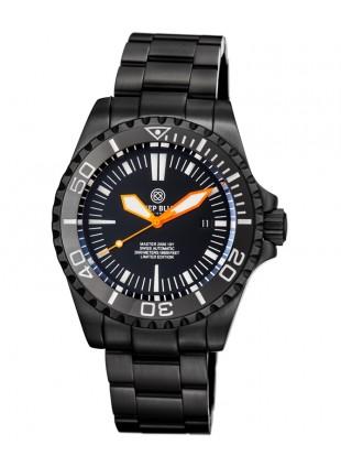 Deep Blue MASTER 2000 Automatic Diver Swiss ETA mvt PVD case Org hands Blk dial