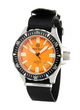 DEEP BLUE WATCH DAYNIGHT T100 OPS TRITIUM TUBES AUTOMATIC 44mm 50ATM ORANGE DIAL