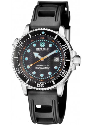 Deep Blue Juggernaut IV Automatic Diver watch Swiss Mvt Black dial Black strap