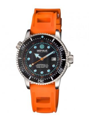Deep Blue Juggernaut IV Automatic Diver watch Swiss Mvt Black dial Orange strap