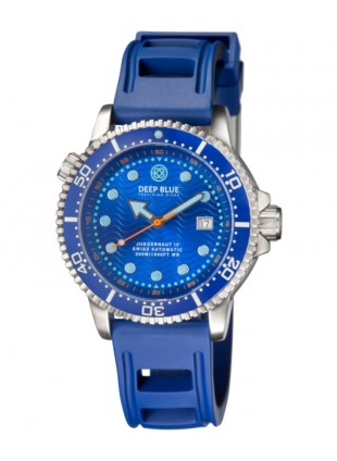 Deep Blue Juggernaut IV Automatic Diver watch Swiss Mvt Blue dial Blue strap