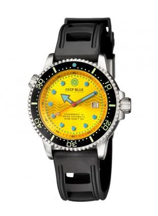 Deep Blue Juggernaut IV Automatic Diver watch Swiss Mvt Yellow dial Black strap