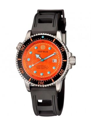 Deep Blue Juggernaut IV Automatic Diver watch Swiss Mvt Orange dial Black strap