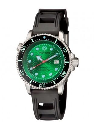Deep Blue Juggernaut IV Automatic Diver watch Swiss Mvt Green dial Black strap