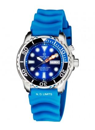 Deep Blue PROTAC 1000m Automatic Diver watch Seiko NH36 Bk/Blu 1/4 Bez Blue Dial