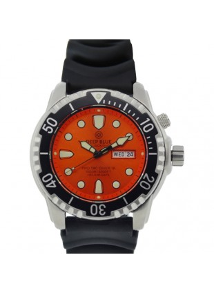 DEEP BLUE PROTAC DIVER 1K DIVING WATCH 1000mWR HELIUM VALVE ORANGE DIAL