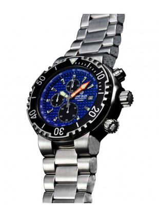 DEEP BLUE PRO SEA CHRONO WATCH 1K MIYOTA QUARTZ 1000mWR SS BRACELET BLUE DIAL