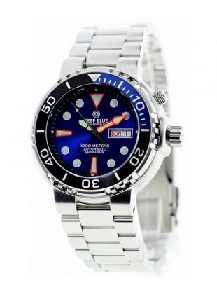 Deep Blue Sun Diver III 1000m WR Auto Day/Date Watch Blue Dial 1/4 Blue Bezel