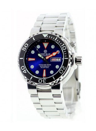 DEEP BLUE SUN DIVER III 1K DIVING WATCH 1000m WR SEIKO 40hr PWR RES BLUE DIAL