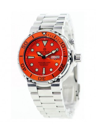 DEEP BLUE SUN DIVER III 1K DIVING WATCH 1000m WR SEIKO 40hr PWR RES ORANGE DIAL