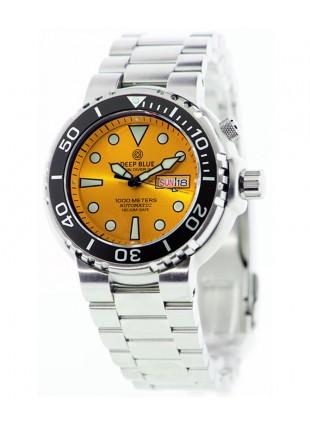 Deep Blue Sun Diver III 1000m WR auto Day/Date watch Black bezel Yellow dial