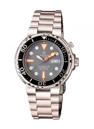 Deep Blue Sun Diver III 1000m WR auto Day/Date watch Black bezel Grey dial