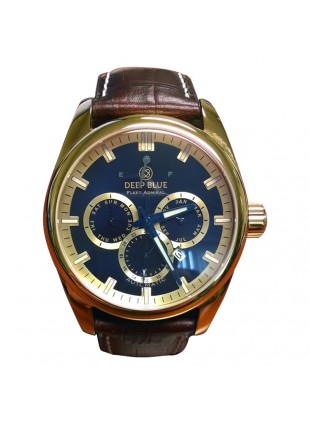 DEEP BLUE FLEET ADMIRAL WATCH AUTO FULL CALENDAR 100m WR GOLD CASE BLUE DIAL