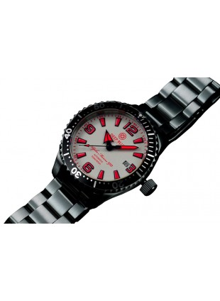 DEEP BLUE 42MM ALPHA MARINE 500 DIVER AUTOMATIC 316L STAINLESS STEEL CASE – WHITE-RED