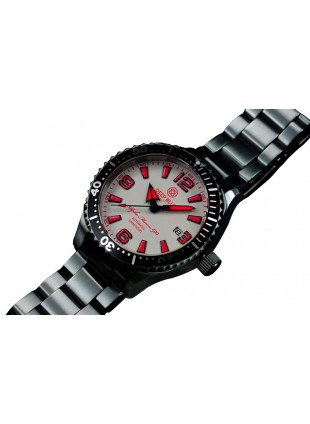 DEEP BLUE 45MM ALPHA MARINE 500 DIVER AUTOMATIC 316L STAINLESS STEEL CASE – WHITE-RED