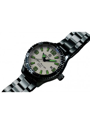 DEEP BLUE 45MM ALPHA MARINE 500 DIVER AUTOMATIC 316L STAINLESS STEEL CASE – WHITE-GREEN