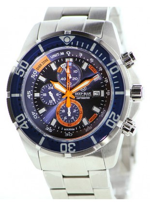 DEEP BLUE DEPTHMETER PROFESSIONAL DIVING WATCH 200m WR DEPTH CHRONO BLUE DIAL