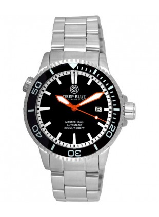Deep Blue MASTER 1000 DIVER Auto watch Ceramic Black bezel Black dial Oran hands