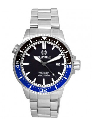 Deep Blue MASTER 1000 DIVER Auto watch Ceramic Black/Blue bezel Black dial
