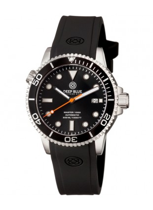 Deep Blue MASTER 1000 DIVER Auto 44mm watch 330m WR BLK dial Orange seconds hand