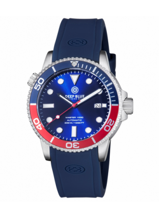 Deep Blue MASTER 1000 Automatic Diver Watch 44mm Case Blu/Red Bez 20 30 Blu dial