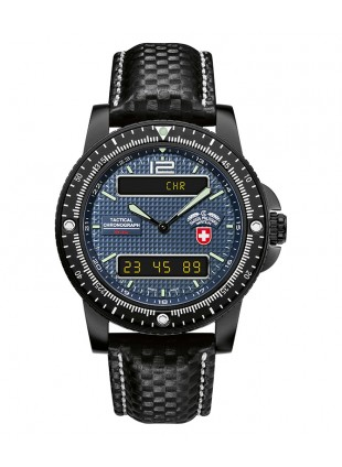 CX SWISS MILITARY DELTA EVO WATCH ANA-DIGITAL 300m WR WATERPROOF LEATHER BLUE