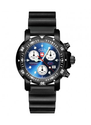CX SWISS MILITARY DIVERS SW1 SCUBA NERO WATCH ETA CHRONO 1000m/3300ft WR BLUE