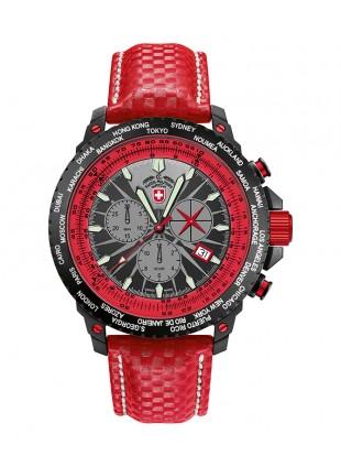 CX SWISS MILITARY HURRICANE WORLDTIMER RAWHIDE WATCH TIMEZONE/SLIDERULE BEZEL RED