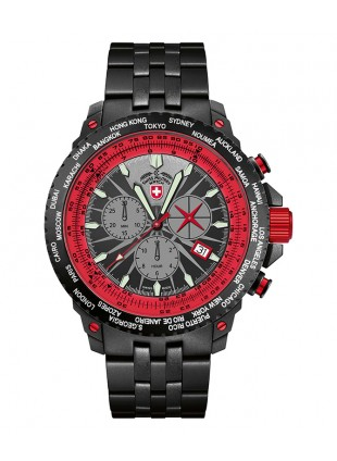 CX SWISS MILITARY HURRICANE WORLDTIMER WATCH TIMEZONE & SLIDERULE BEZEL RED