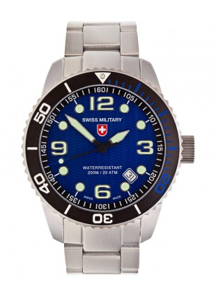 CX Swiss Military MARLIN Swiss watch 20ATM S/Steel bracelet Blue dial 2702