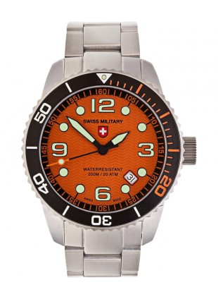 CX Swiss Military MARLIN Swiss watch 20ATM S/Steel bracelet Orange dial 2703