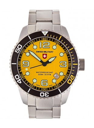 CX Swiss Military MARLIN Swiss watch 20ATM S/Steel bracelet Yellow dial 2704