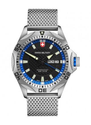 CX Swiss Military TANK Day/Date Swiss watch Mesh bracelet Black/Blue dial 2737