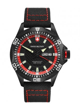 CX Swiss Military TANK NERO RAWHIDE watch PVD case Canvas strap Bk/Rd dial 27411