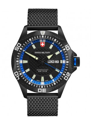 CX Swiss Military TANK NERO Day/Date watch PVD case/bracelet Black/Blu dial 2742