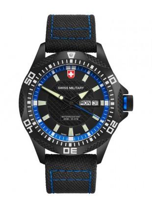 CX Swiss Military TANK NERO RAWHIDE watch PVD case Canvas strap bk/bl dial 27421