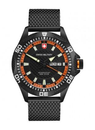 CX Swiss Military TANK NERO Day/Date watch PVD case/bracelet Black/Org dial 2743