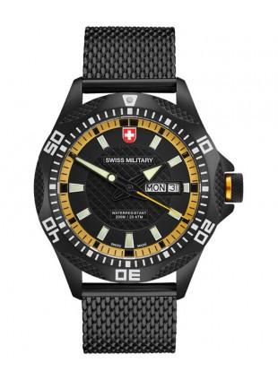 CX Swiss Military TANK NERO Day/Date watch PVD case/bracelet Black/Yel dial 2744