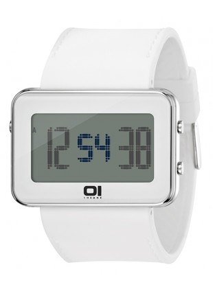 01 THE ONE TURNING DISC  DIGITAL + LIGHT WATCH IPLD104-3WH WHITE CASE PU STRAP