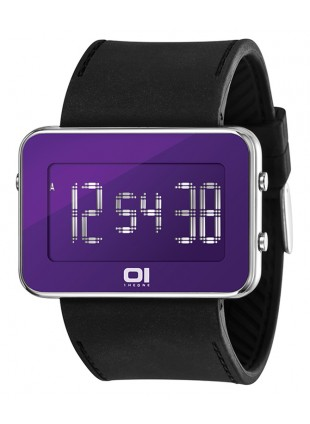 01 THE ONE TURNING DISC  DIGITAL + LIGHT WATCH IPLD117-3BK BLACK CASE PU STRAP