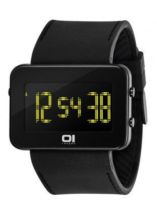 01 THE ONE TURNING DISC DIGITAL + LIGHT WATCH IPLD202-3BK BLACK CASE PU STRAP