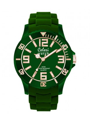 COLORI CLASSIC CHIC WATCH 50M WR JAPAN QUARTZ EMERALD GREEN 40MM DIAMETER 5-COL135