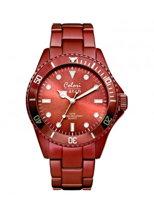 COLORI ALUMINIUM COLLECTION WATCH 50M WR JAPAN QUARTZ DARK RED 40MM DIAMETER 5-COL238