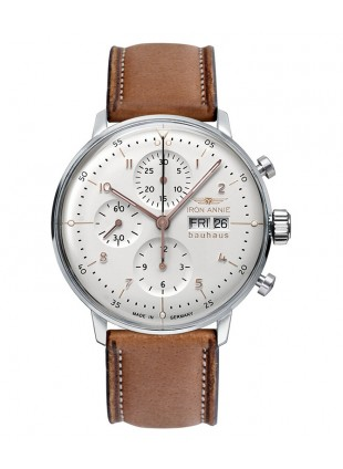 Iron Annie Bauhaus Chronograph Watch Swiss ETA 7750 Automatic Sil Dial 5018-4