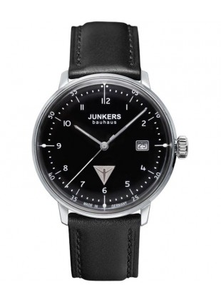 Junkers 6046-2 Bauhaus Watch black dial with white digits / markers 6046-2